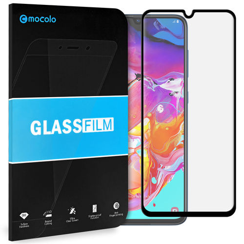 Full Coverage Tempered Glass Screen Protector for Samsung Galaxy A70 - Black